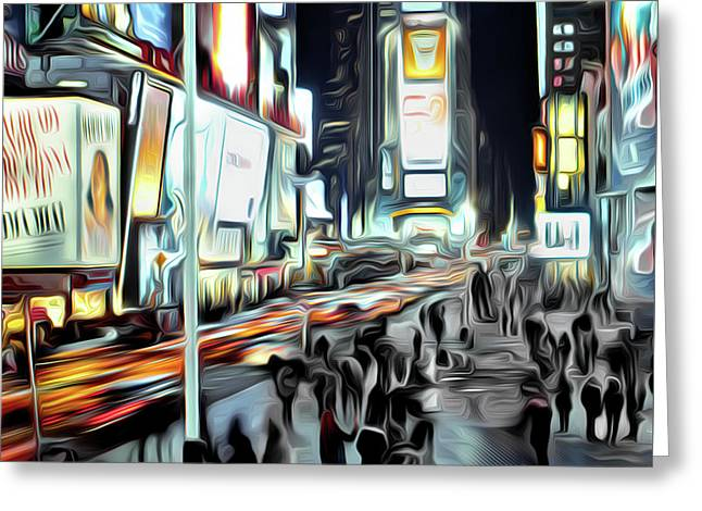 People Walking In Time Square Greeting Card