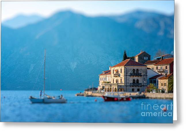 Perast City In Kotor Bay On The Sunset Greeting Card