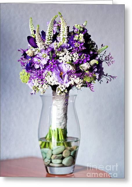 Perfect Bridal Bouquet For Colorful Wedding Day With Natural Flowers. Greeting Card