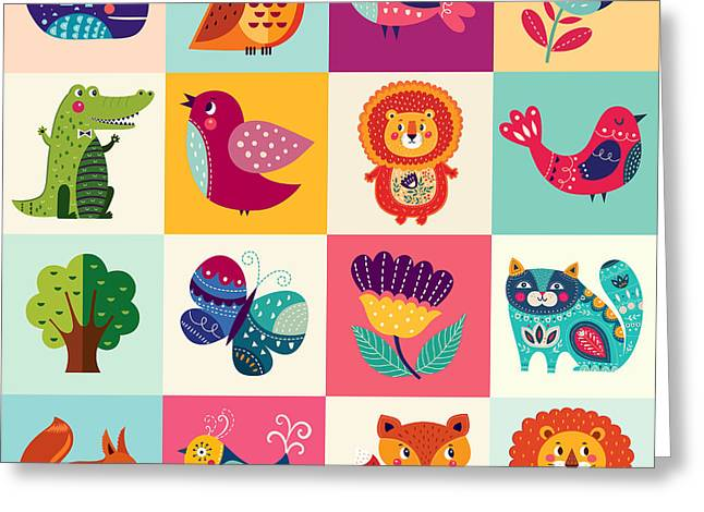 Perfect Vector Set Of Illustration In Greeting Card