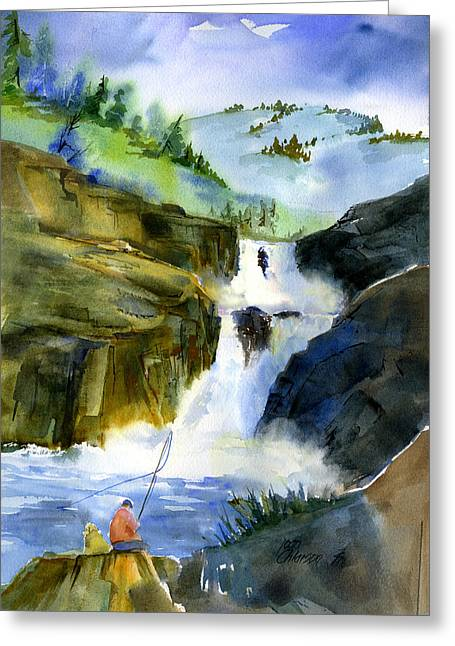 Petroglyph Falls Fishing Greeting Card