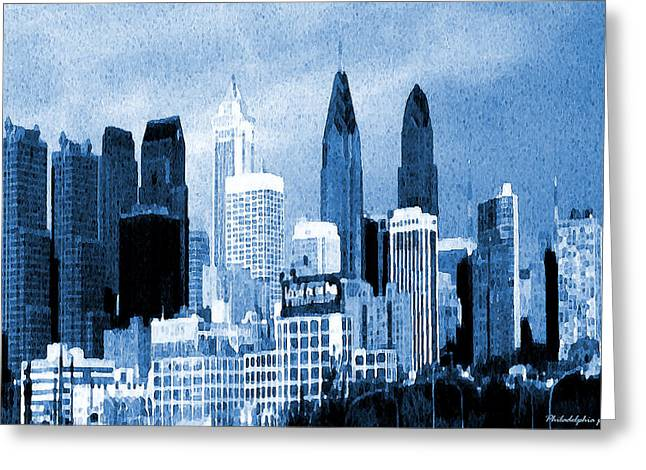 Philadelphia Blue - Watercolor Painting Greeting Card