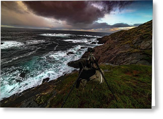 Photo Gear On Landscape Shot Greeting Card