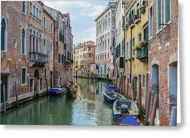 Gondolier On Canal Venice Italy Greeting Card