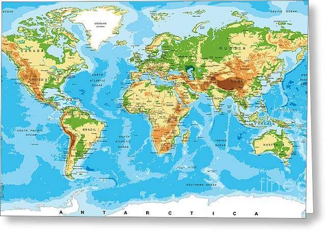 Physical Map Of The World Greeting Card