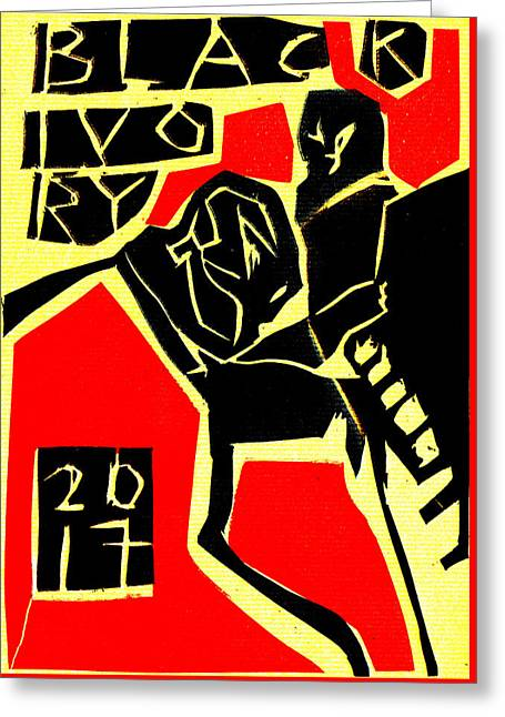 Piano Player Black Ivory Woodcut Poster 31 Greeting Card