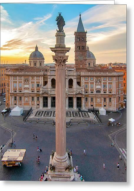 Greeting Card featuring the photograph Piazza Santa Maria Maggiore by Fabrizio Troiani