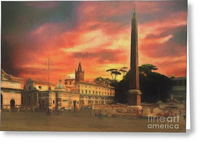 Piazza Del Popolo Rome Greeting Card