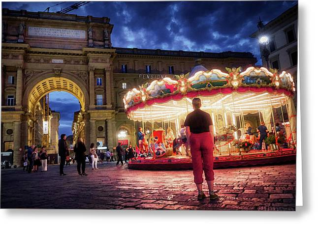 Piazza Della Reppublica At Night In Firenze With Painterly Effects Greeting Card