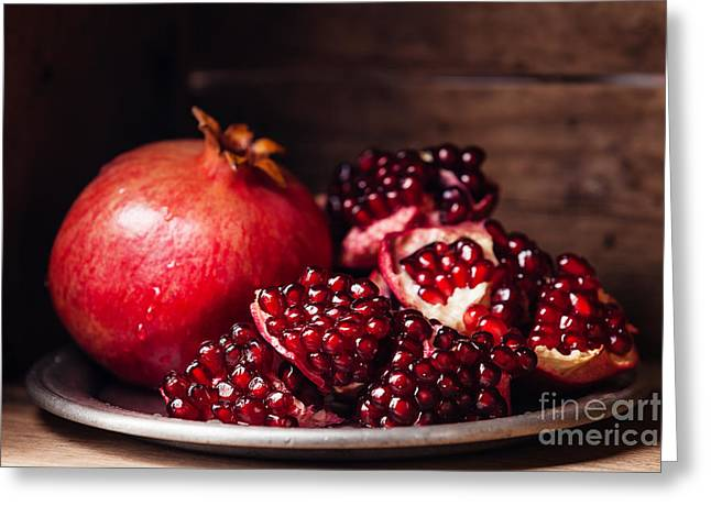Pieces And Grains Of Ripe Pomegranate Greeting Card
