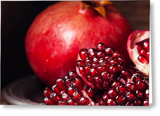 Pieces And Seeds Of Ripe Pomegranate Greeting Card