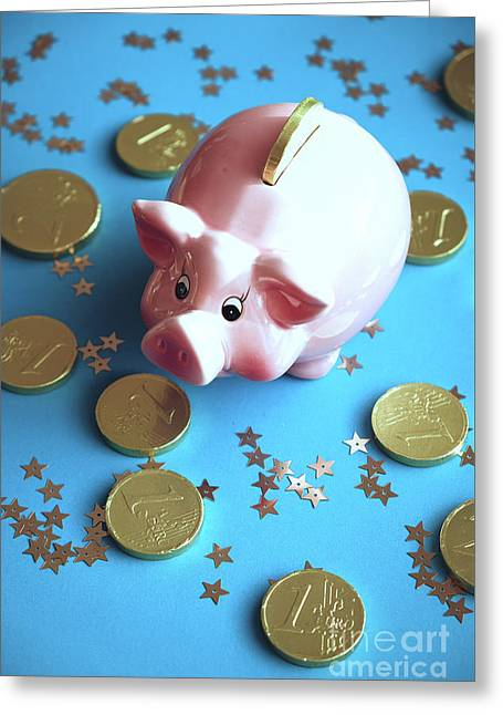 Piggy Bank On The Background With The  Chocoladen Coins Greeting Card