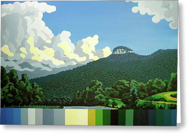 Greeting Card featuring the painting Pilot Mountain - Summer by John Gibbs