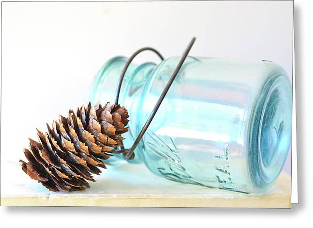 Greeting Card featuring the photograph Pine Cone And A Jar by Michelle Wermuth