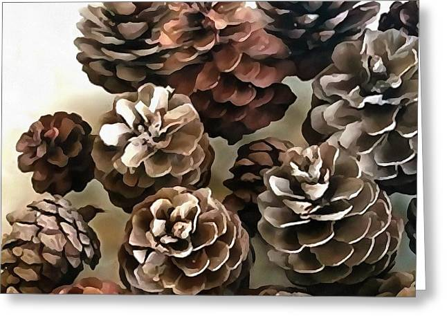 Pine Cones Organic Christmas Ornaments Greeting Card