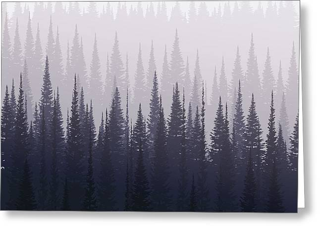 Pine Forest In Winter. Nature Landscape Greeting Card