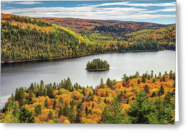 Greeting Card featuring the photograph Pine Island At Wapizagonke Lake by Pierre Leclerc Photography