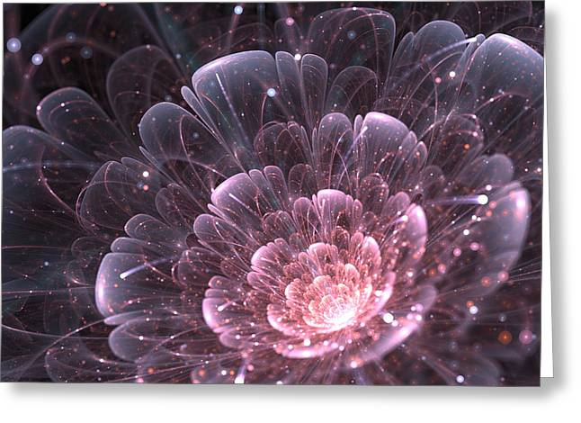 Pink Abstract Flower With Sparkles On Greeting Card