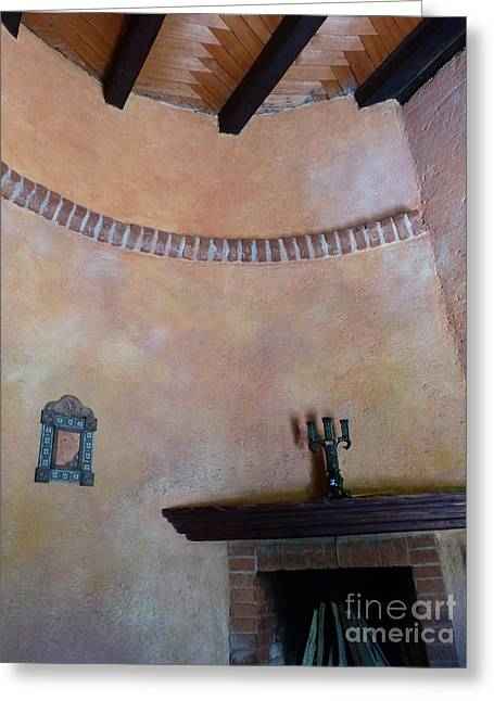 Greeting Card featuring the photograph Pink Adobe Wall by Rosanne Licciardi