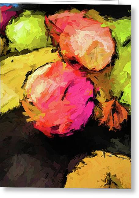Pink And Green Apples With The Yellow Banana Greeting Card