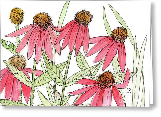 Pink Coneflowers Gather Watercolor Greeting Card