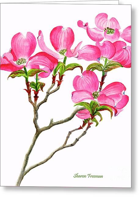 Pink Dogwood Vertical Design Greeting Card