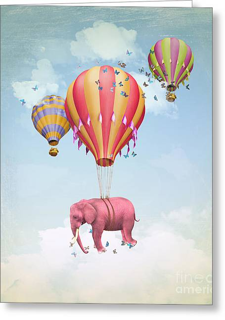 Pink Elephant In The Sky With Balloons Greeting Card