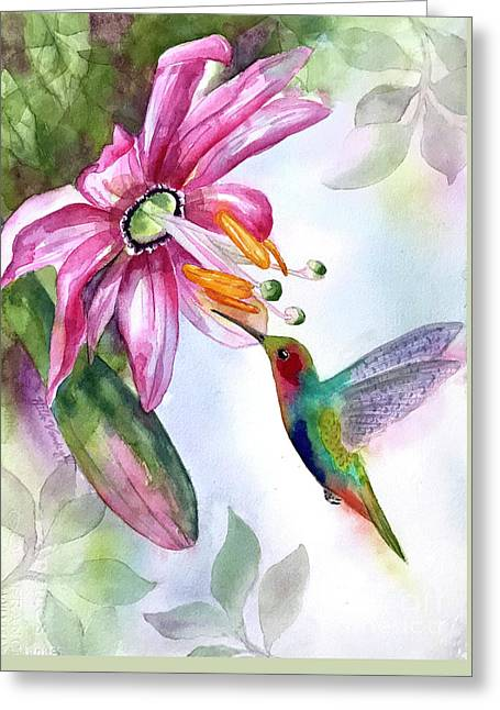 Pink Flower For Hummingbird Greeting Card