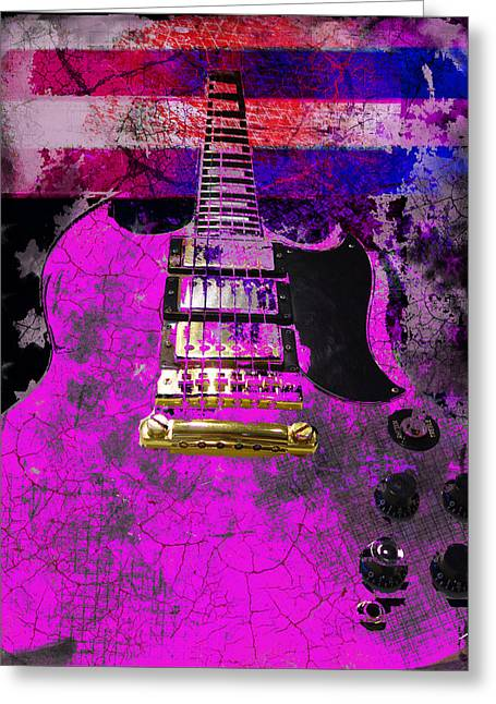 Pink Guitar Against American Flag Greeting Card