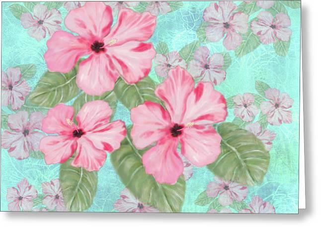 Pink Hibiscus Print On Aqua Greeting Card