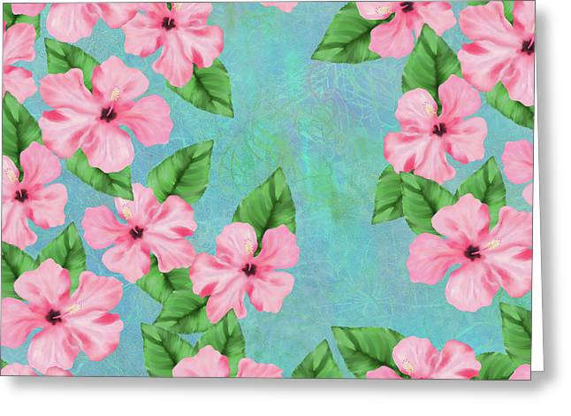 Pink Hibiscus Tropical Floral Print Greeting Card
