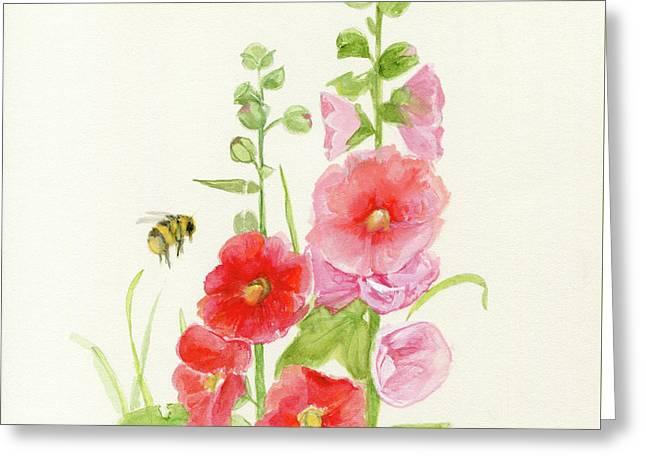 Pink Hollyhock Watercolor Greeting Card