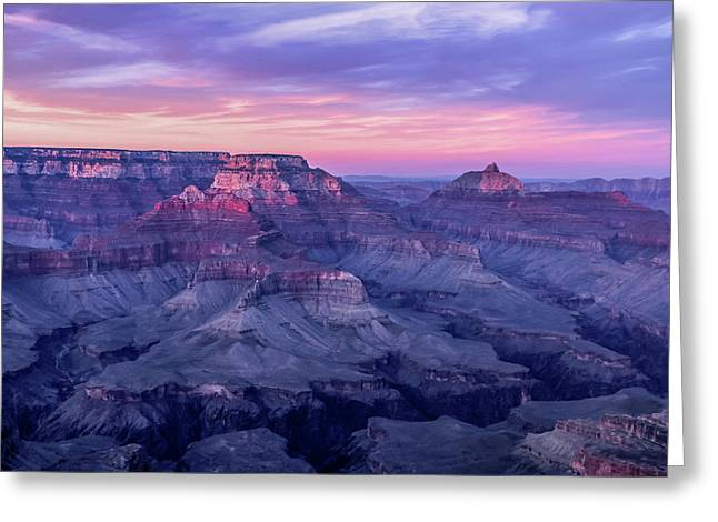 Pink Hues Over The Grand Canyon Greeting Card