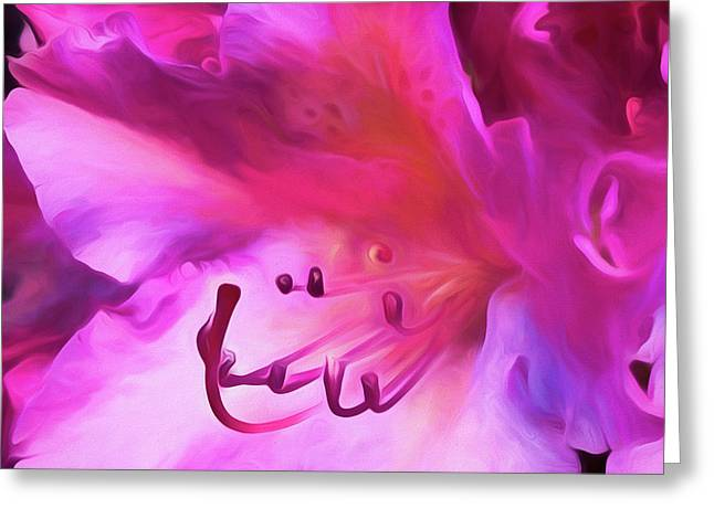 Greeting Card featuring the digital art Pink O'keefe by Cindy Greenstein