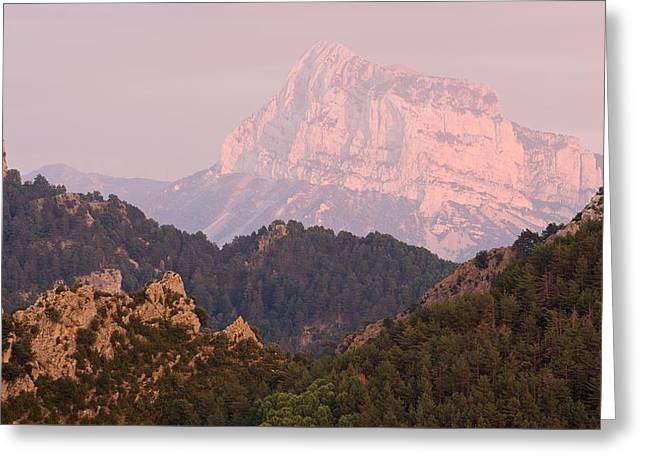 Greeting Card featuring the photograph Pink Pena Montanesa by Stephen Taylor