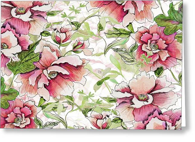 Pink Peony Blossoms Greeting Card