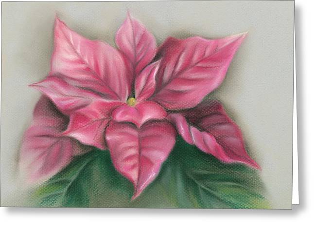 Greeting Card featuring the pastel Pink Poinsettia by MM Anderson