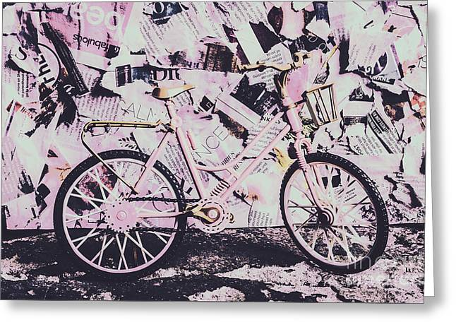 Pink Posterized Pushbike Greeting Card