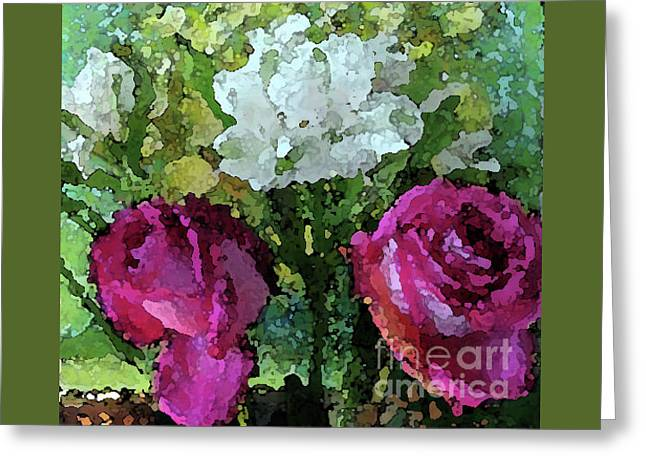 Pink Roses Watercolor Effect Greeting Card