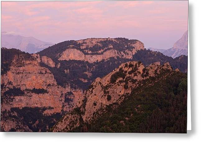 Greeting Card featuring the photograph Pink Skies Above Pena Montanesa by Stephen Taylor