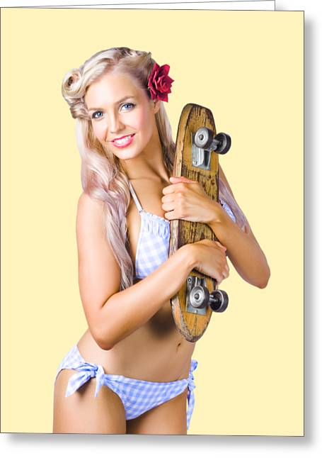 Greeting Card featuring the photograph Pinup Woman In Bikini Holding Skateboard by Jorgo Photography - Wall Art Gallery