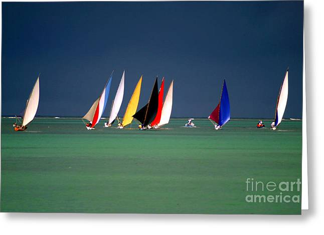 Pirogues On The Horizon In Front Of Greeting Card