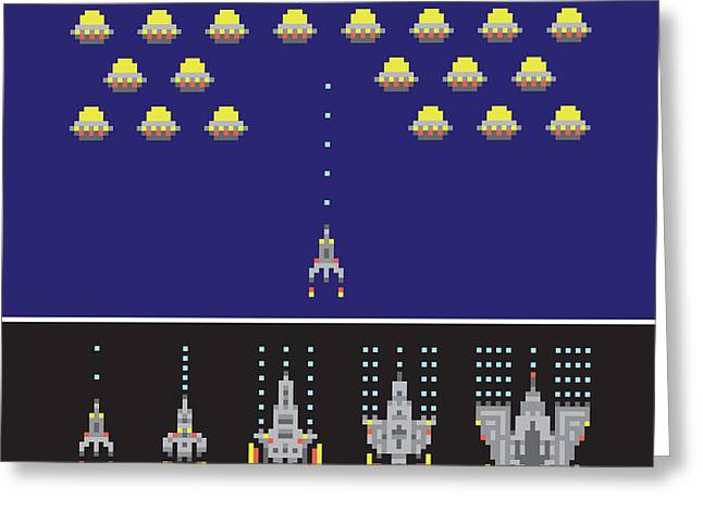 Pixel Art Style Space War And Spaceship Greeting Card by Dmitriylo