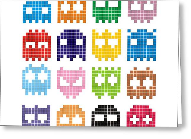 Pixel Monster Icon Greeting Card by Lazyvector
