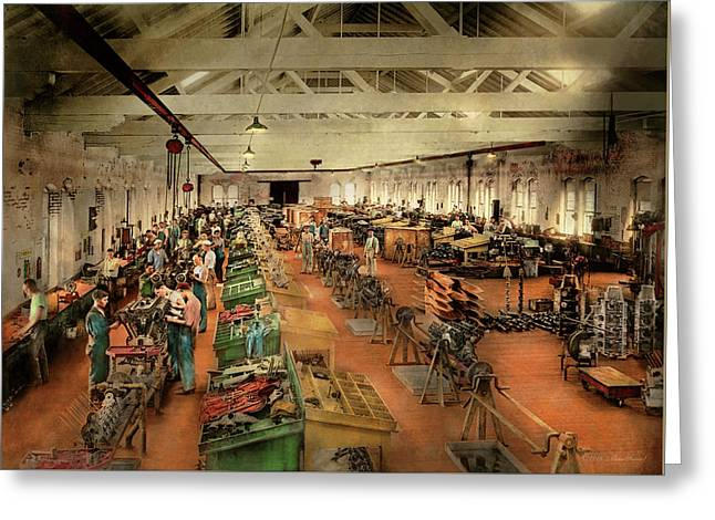 Greeting Card featuring the photograph Plane - Factory - Aircraft Repair 1919 by Mike Savad