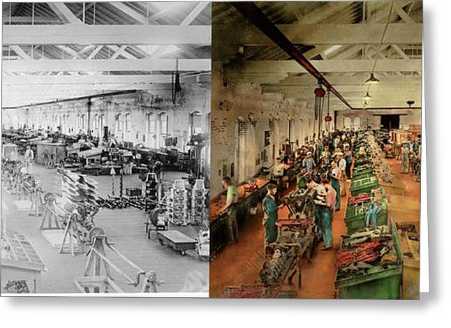 Greeting Card featuring the photograph Plane - Factory - Aircraft Repair 1919 - Side By Side by Mike Savad
