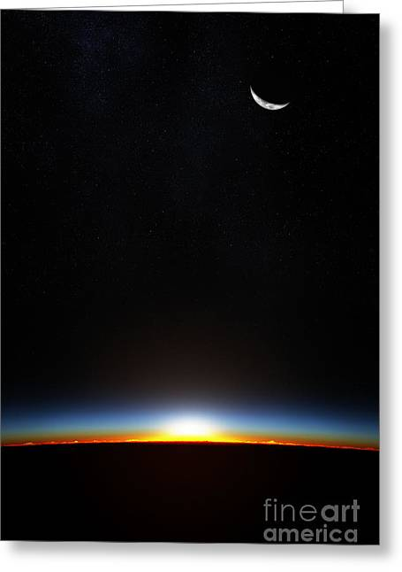 Planet Earth From Space As The Sun Greeting Card