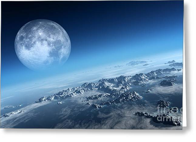 Planet Earth Icy Ocean And Rocky Greeting Card