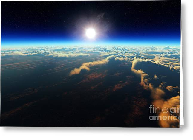 Planet Earth Sunrise Over Cloudy Ocean Greeting Card