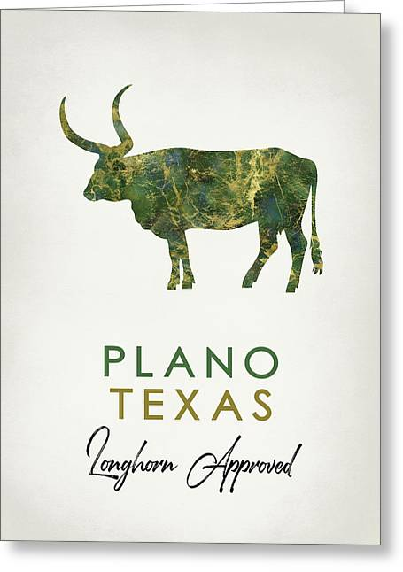 Plano Texas Dark Marble Greeting Card